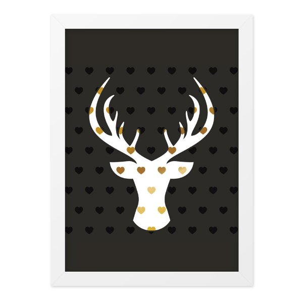 Quadro A4 Deer Hearts Gold