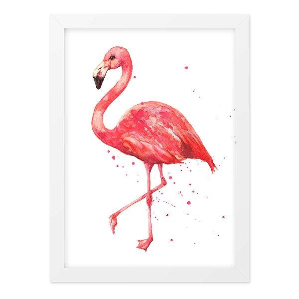 Quadro A4 Flamingo Aquarela