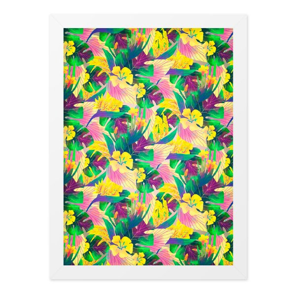 Quadro A4 Textura Plasntas E Flores Coloridas