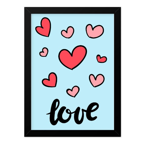Quadro A4 Just Love Hearts