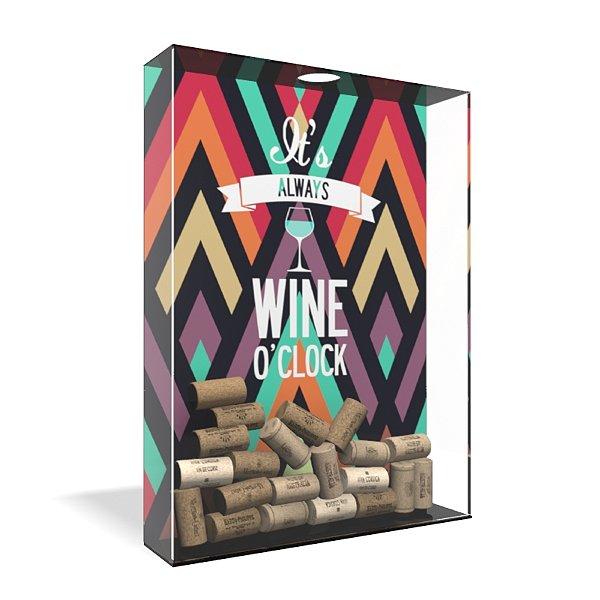 Quadro Porta Rolha de Vinho Acrílico - Wine O´clock Geométrico