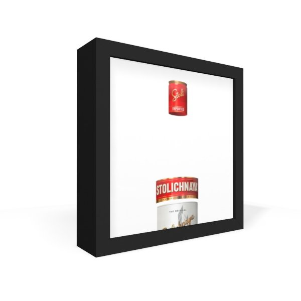 Quadro Caixa Frontal Garrafa Transparente Stolichinaya