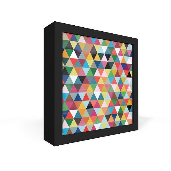 Quadro Caixa Frontal Triangulos Coloridos