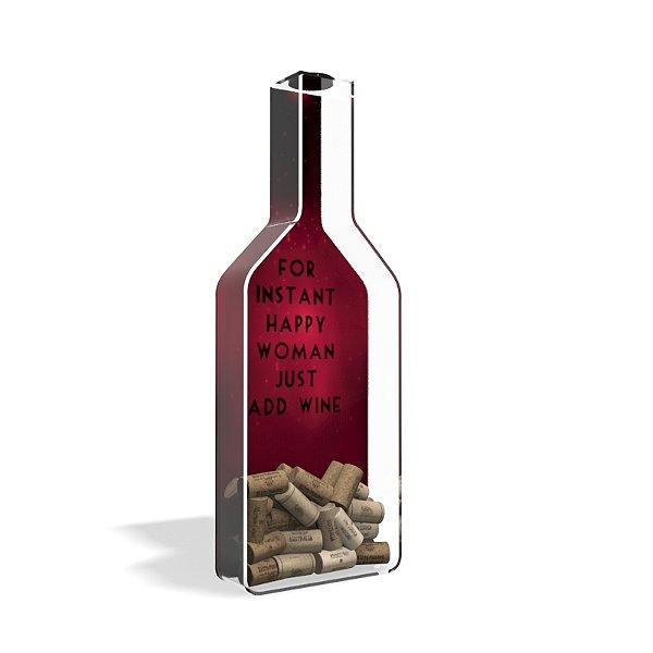 Porta Rolha de Vinho Garrafa Acrílico Instant Hapy