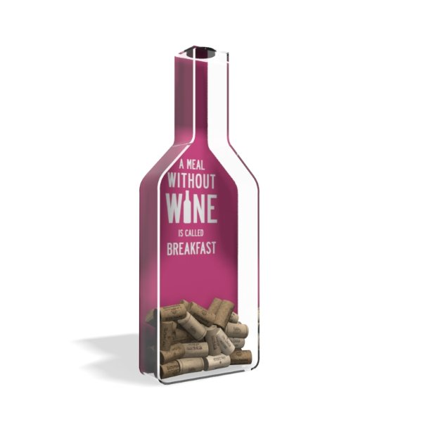 Porta Rolha de Vinho Garrafa Acrílico Breakfast Rosa