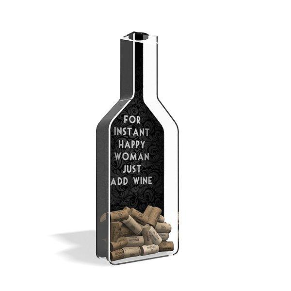 Porta Rolha de Vinho Garrafa Acrílico Instant happy Wood
