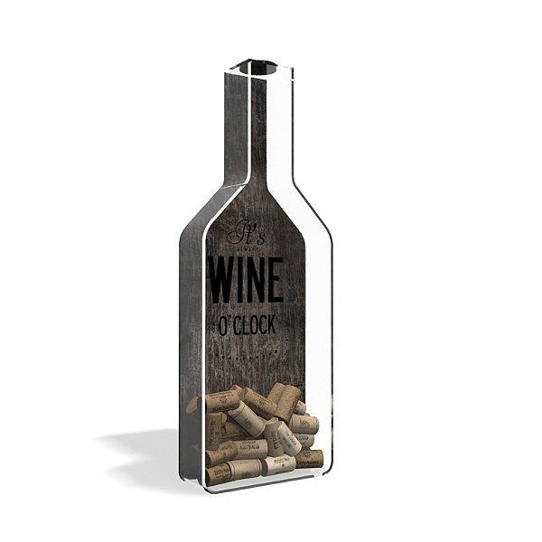 Porta Rolha de Vinho Garrafa Wine o'Clock Wood