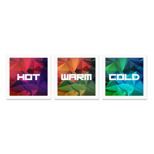 Quadros 20x20 (3 unidades) Hot, Warm and Cold