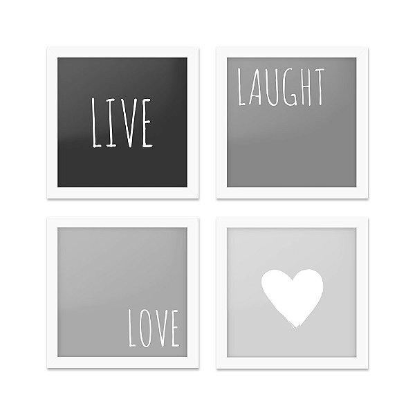 Quadros 20x20 (4 unidades) Live, Love tons de cinza