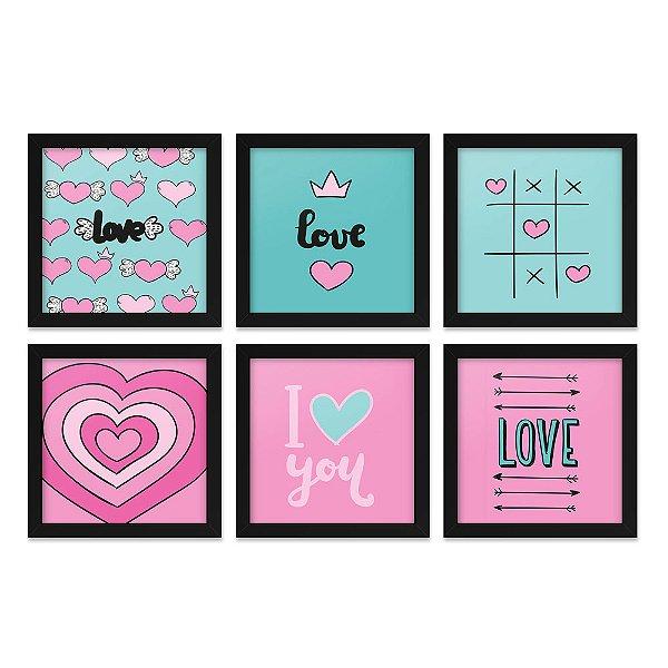 Quadros 20x20 (6 unidades) Love Rosa