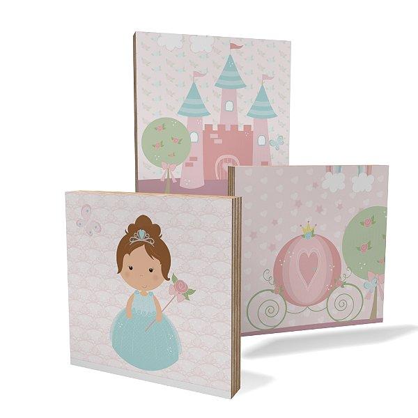 Kit 3 Placas Compensado Mini (10x10cm) Princesa