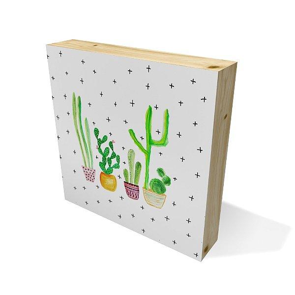 Quadro Pinus Quadrado Cactus Draw