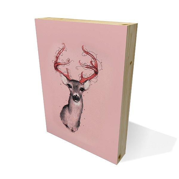 Quadro Pinus Retangular Deer Pink