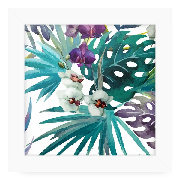 Quadro 20x20 Floral Flowers=Green