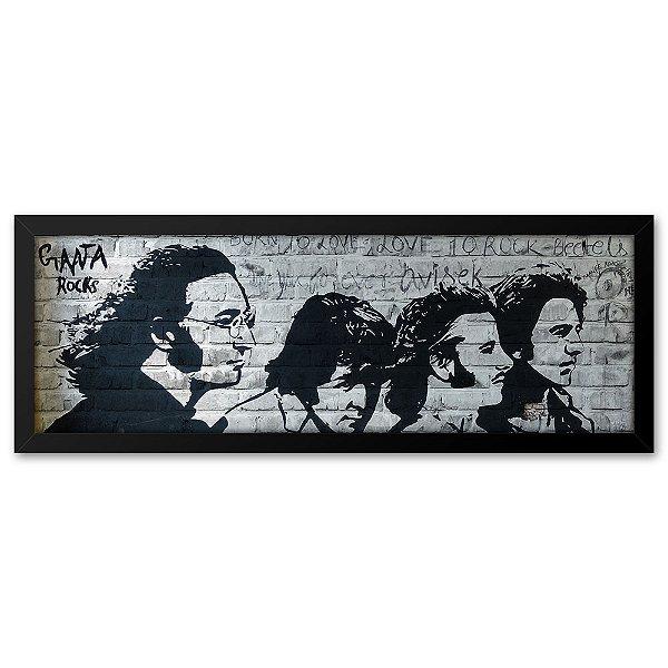 Quadro 60x20 Beatles Estencil tijolo
