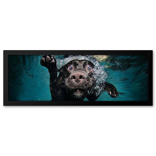 Quadro 60x20 Cachorro Engraçado Nadando