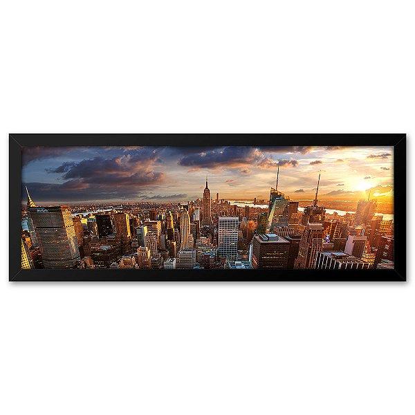 Quadro 60x20 Paisagem Pôr do Sol em Nova Iorque