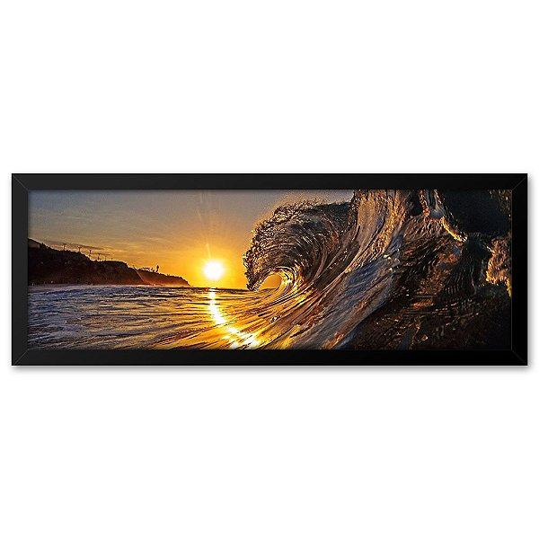 Quadro 60x20 Por do sol com onda na Praia