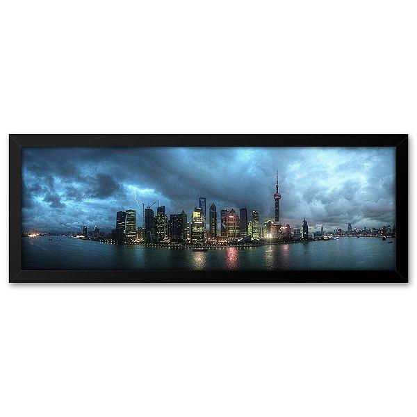 Quadro 60x20 Cidade de Shangai com tempestade