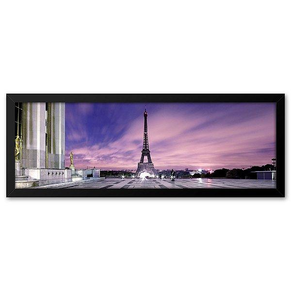 Quadro 60x20 Paisagem Torre Eiffel Paris Roxo