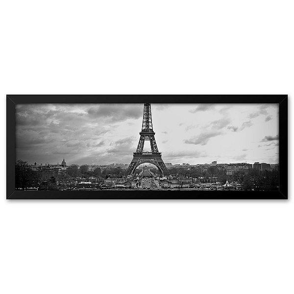 Quadro 60x20 Paisagem Torre Eiffel Paris Preto e branco