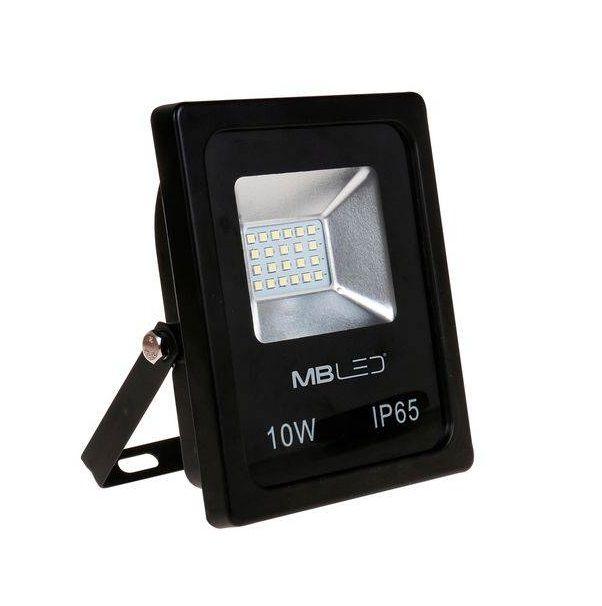 Refletor Led 10W 6000K 700LM Branco Frio Bivolt | MB Led - MR4000 - Preto - Bivolt