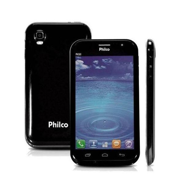 "Smartphone Philco Phone 501 2 Chips 4GB 8MP Tela 5"" Android 4.1 TV Wifi - Preto"