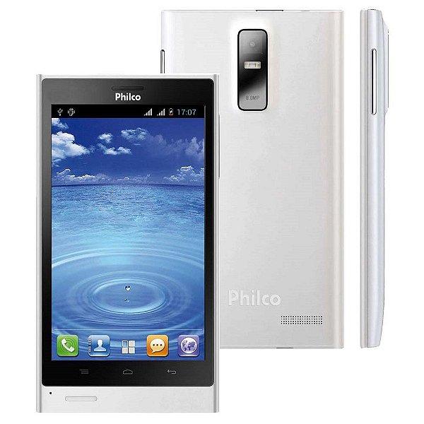 "Smartphone Philco Phone 500 2 Chips 4GB 8MP Tela 5"" Android 4.0 3G Wifi - Branco"