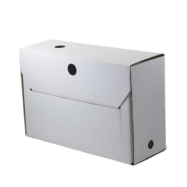 Caixa-arquivo branca 140mm com rótulo adesivo vermelho - 50 un