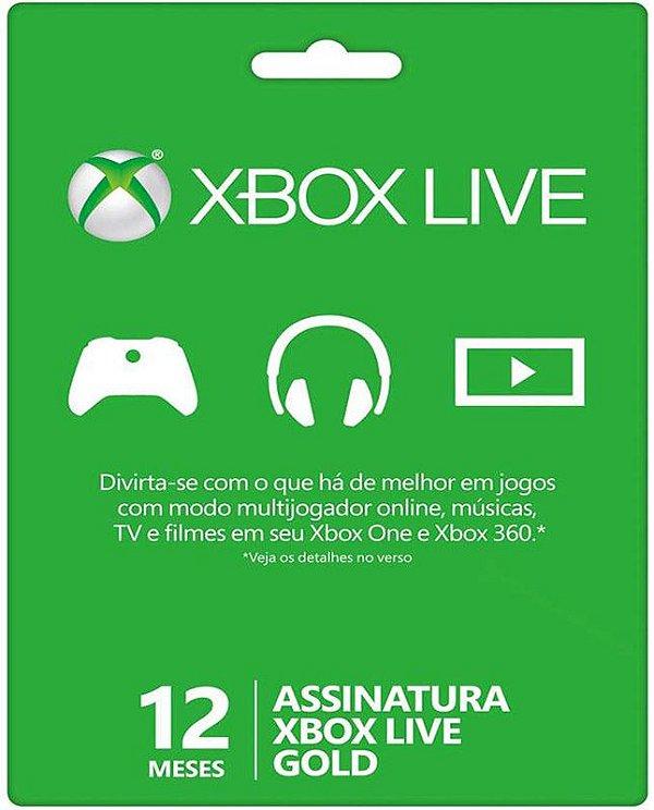 Cartão XBOX Live Gold - Assinatura 12 meses - Microsoft