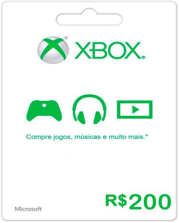 Cartão XBOX Live Brasil R$200 Reais - Microsoft