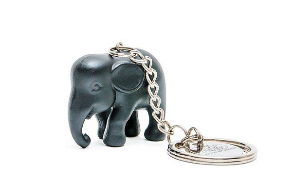 Chaveiro Elefante Preto de Silicone