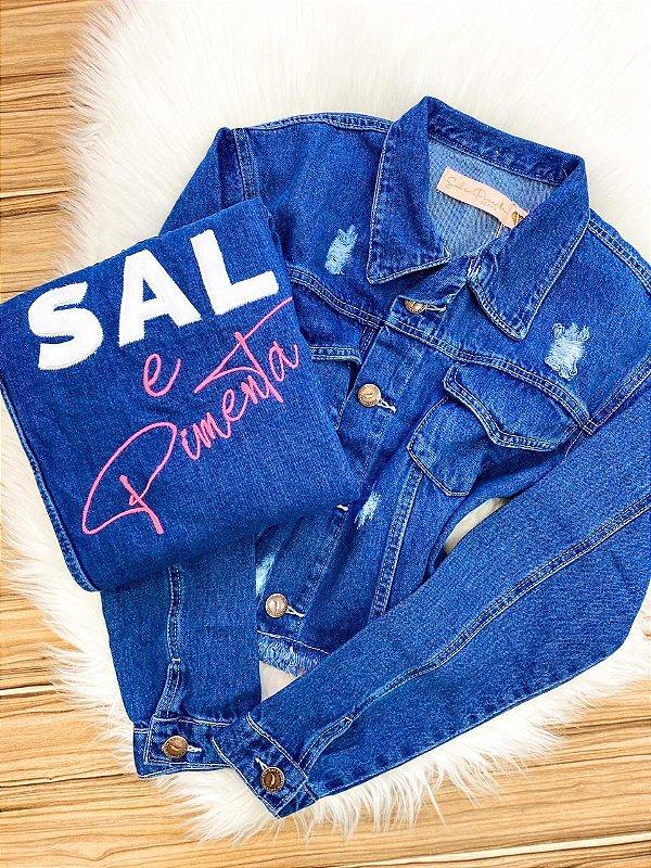 Jaqueta Jeans Sal e Pimenta Escura