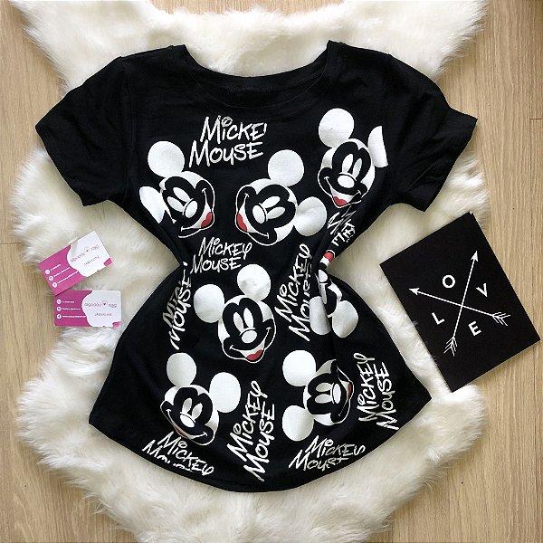 T-shirt mickey preta