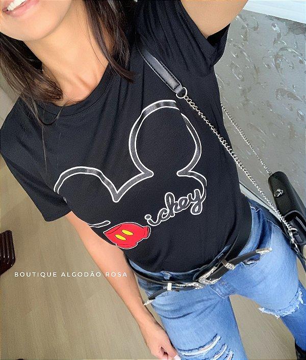 T-shirt Cabeça Mickey Preta