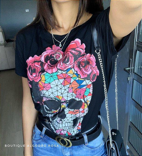 T-shirt Caveira Mexicana Preta