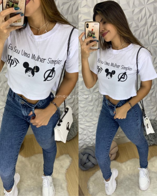Cropped Mulher Simples Branca