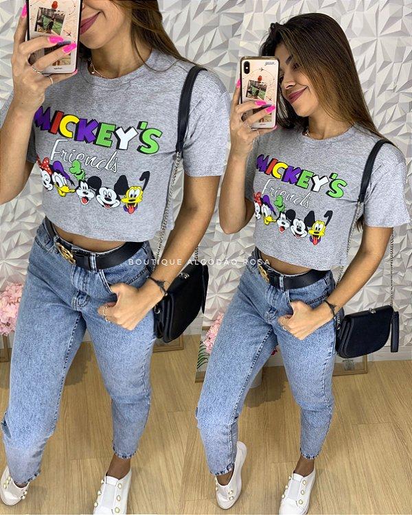 Cropped Mickey Amigos Cinza
