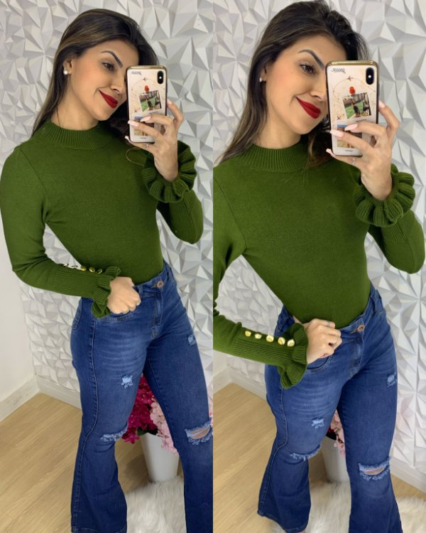 Blusa Botões Verde