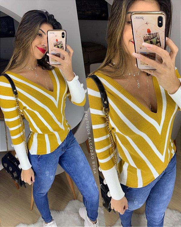 Blusa Decotada Fashion Mostarda