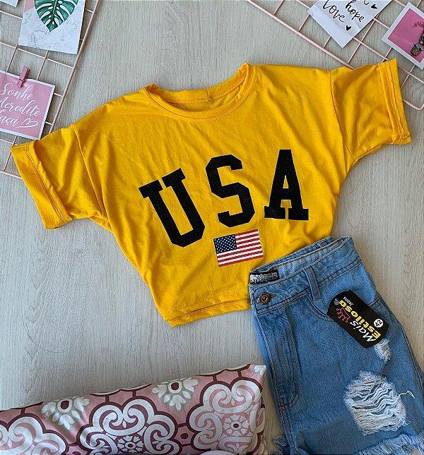 Cropped USA Amarelo