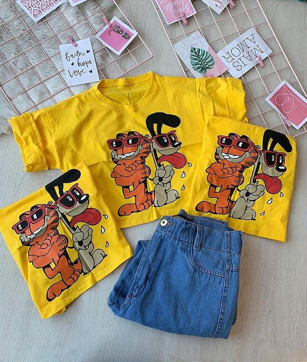 Cropped Garfield e Odie amarelo