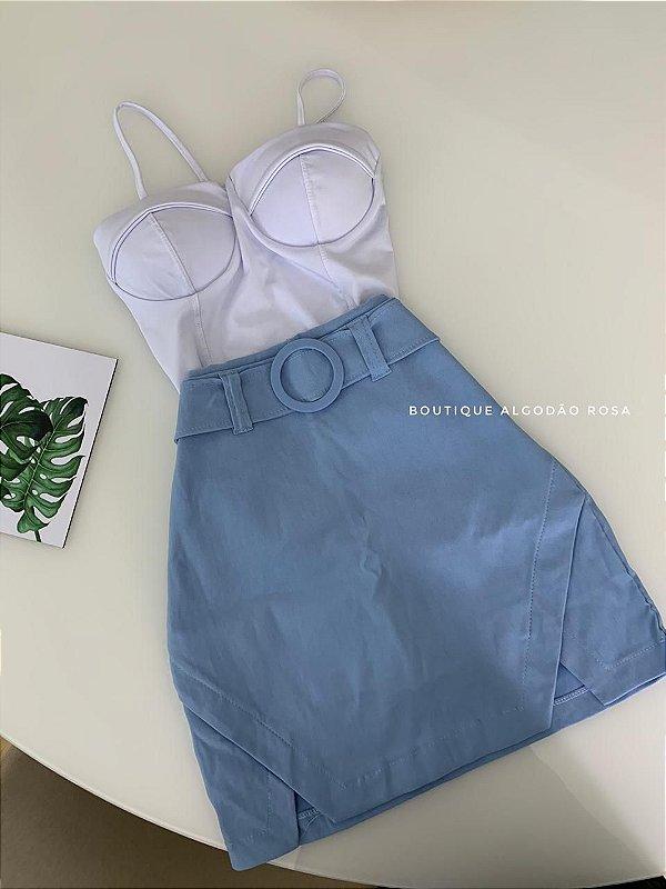 Short Saia Cintinho Azul