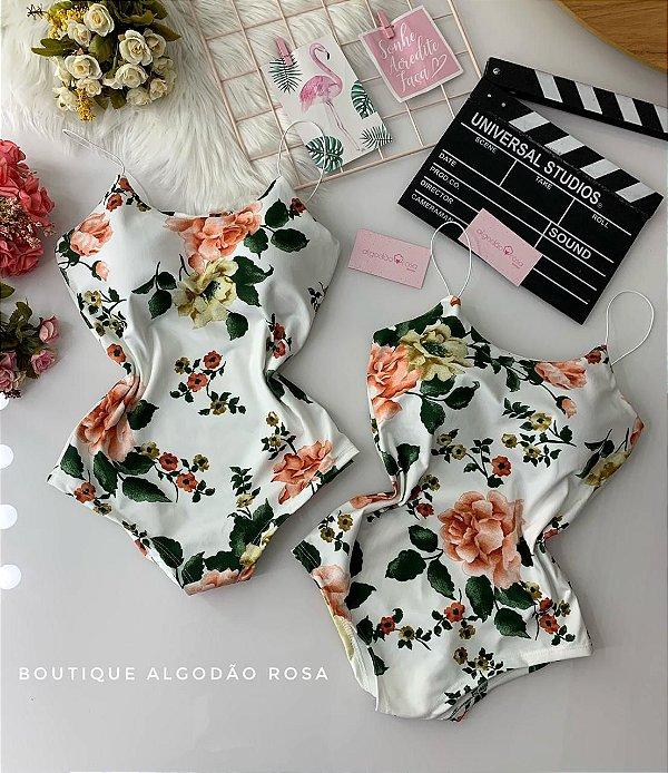 Body Alcinha Flores Branco