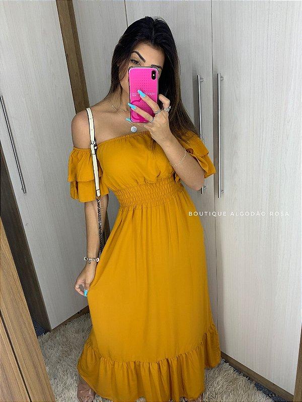 Vestido Ana Beatriz Mostarda
