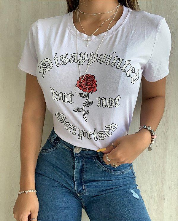 T-shirt Branca Rosa