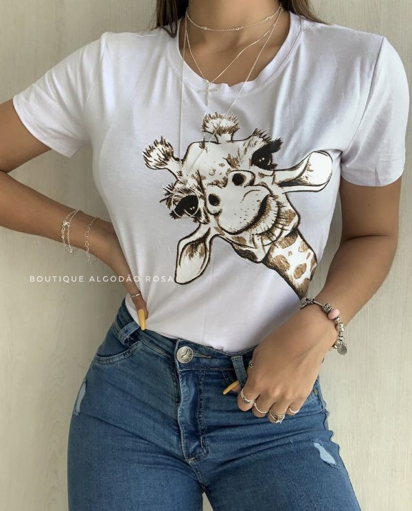 T-shirt Girafa Branca