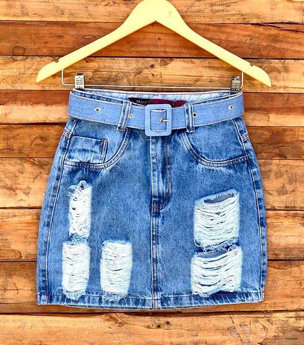 Saia Jeans Cinto