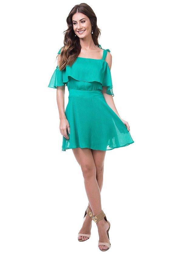 Vestido Curto Alça Laço Devorê Listrado Verde