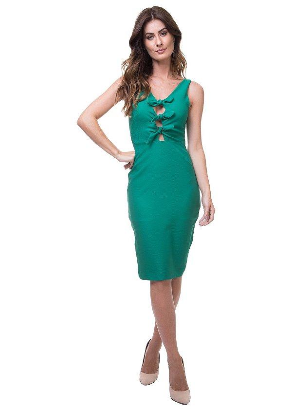Vestido Justo Decote Amarração Verde